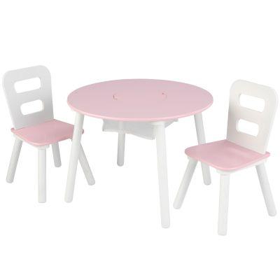 Ensemble table avec rangement et 2 chaises rose KidKraft
