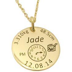 Médaille de naissance ronde avec chaîne (plaqué or jaune)