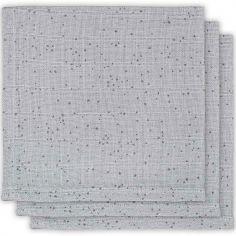 Lot de 3 mini langes Mini dots gris (31 x 31 cm)
