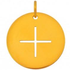 Médaille Mini Croix fine 10 mm (or jaune 750°)
