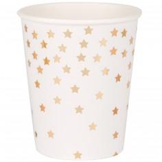 Gobelets en carton étoiles dorées métallisées (8 pièces)