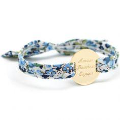 Bracelet Liberty ruban maman family personnalisable (plaqué or)