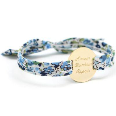Bracelet Liberty ruban maman family personnalisable (plaqué or)  par Petits trésors