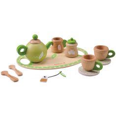 Service à thé en bois vert