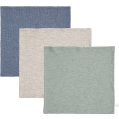 Lot de 3 mini langes Pure mint et bleu (25 x 25 cm)