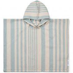 Poncho de bain Roomie rayé bleu (1-2 ans)
