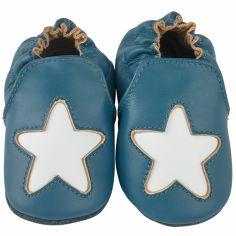 Chaussons cuir Cocon étoile bleu (0-6 mois)