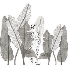 Grand sticker leopard et feuillages (91 x 83 cm)