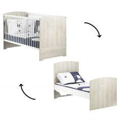 Lit bébé évolutif Little Big Bed Smile hêtre cendré (70 x 140 cm)