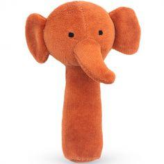 Hochet pouet pouet éléphant rouille (15 cm)