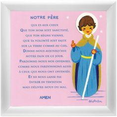 Tableau religieux Prière Notre Père rose (15 x 15 cm)