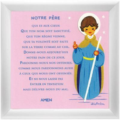 Tableau religieux Prière Notre Père rose (15 x 15 cm)  par Atelier de Rosbo
