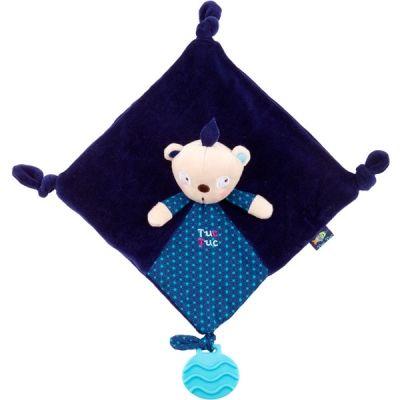 Doudou plat avec anneau de dentition bleu garçon Kimono (22 cm) Tuc Tuc