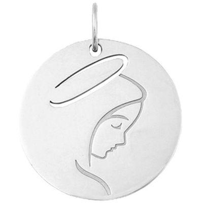 Mini bijou Vierge de profil sur cordon (or blanc 18 carats)  par Maison La Couronne