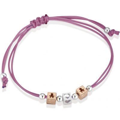 Bracelet cordon magenta 2 cubes garçon 1 cube coeur (or rose 375° et argent 925°)  par leBebé