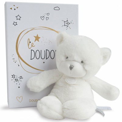 Peluche pantin ours blanc Le Doudou (26 cm) Doudou et Compagnie