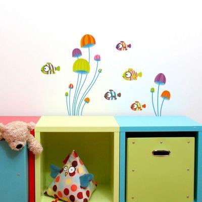 Stickers muraux Mini poissons dans la mer  par Série-Golo