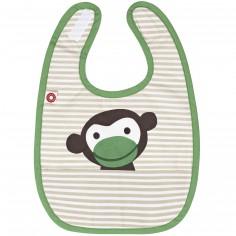 Bavoir à velcro à poche singe en coton bio