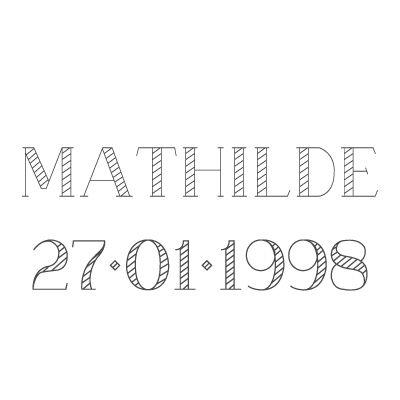 Gravure prénom + date sur médaille (Typo 5 Azure)  par Gravure magique