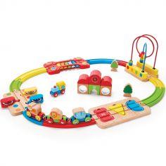 Circuit train en bois arc-en-ciel