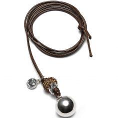 Bola sur cordon marron Bling perle strass topaz (plaqué argent)