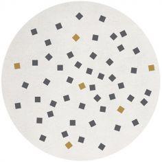 Tapis coton imprimé petits carrés (150 cm)