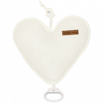Coussin musical coeur Classic blanc ivoire (26 cm) Baby's Only