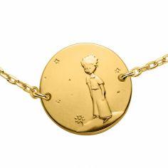 Bracelet chaîne 16 cm Le Petit Prince sur sa planète 14 mm (or jaune 750°)
