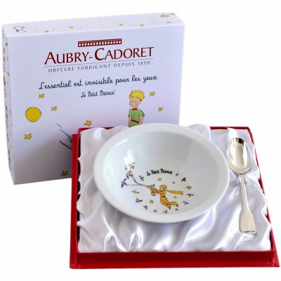 Coffret repas assiette + cuillère métal argenté Le Petit Prince (2 pièces)  par Aubry-Cadoret