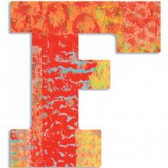 Lettre F en bois Paon