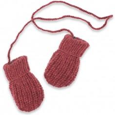 Moufles Fernand tricotées main rhubarbe (12-24 mois : 74 à 86 cm)