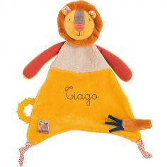 Doudou attache sucette lion Les Papoum personnalisable (24 cm)