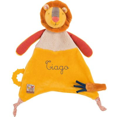 Doudou attache sucette lion Les Papoum personnalisable (24 cm) Moulin Roty
