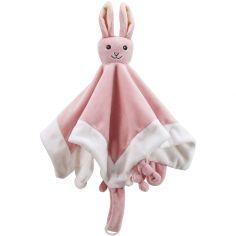 Doudou plat attache sucette lapin rose Edvin