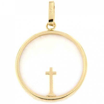 Médaille Croix fine (or jaune 750° et nacre)  par Aubry-Cadoret