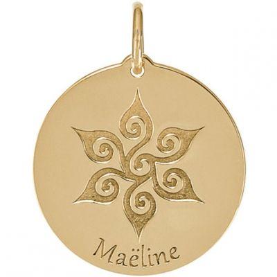 Médaille Maëline personnalisable 18 mm (or jaune 750°)  par Je t'Ador