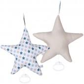 Coussin musical étoile Mixed stars mint (26 x 24 cm) - Little Dutch