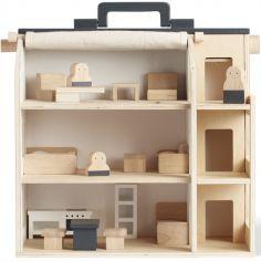 Maison de poupée avec meubles en bois Aiden