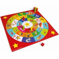 2 jeux de plateau : Jeu de l'Oie et petits chevaux avec tableau de jeu recto/verso