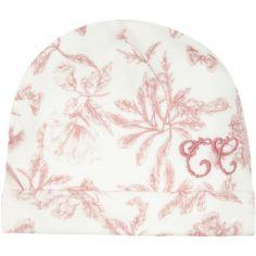 Bonnet de naissance en velours blanc Toile de Jouy