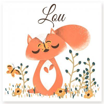 Plaque de porte carrée Les Animignons L'écureuil (personnalisable)  par Kanzilue