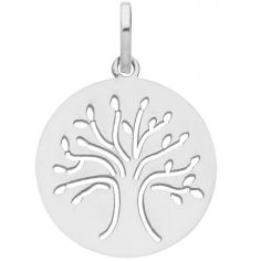 Médaille ronde ajourée Arbre de vie 16 mm (or blanc 375°)