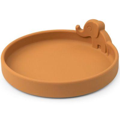 Assiette en silicone Elphee moutarde Peekaboo  par Done by Deer