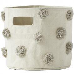 Panier de toilette pompons gris (20 x 18 cm)