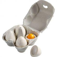 Jeu d'imitation boîte de 4 œufs en bois Biofino