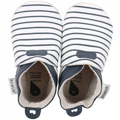 Chaussons bébé en cuir Soft soles Rayés bleus  (9-15 mois)  par Bobux