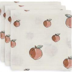 Lot de 3 mini langes hydrophiles Peach pêche (31 x 31 cm)