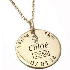 Médaille de naissance main de Fatma avec chaîne personnalisable (plaqué or jaune)
