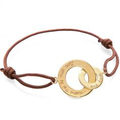 Bracelet sur cordon Anneaux entrelacés Papa personnalisable (plaqué or)