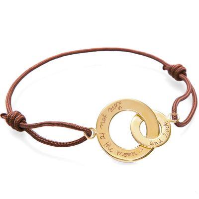 Bracelet sur cordon Anneaux entrelacés Papa personnalisable (plaqué or)  par Merci Maman